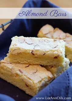 This recipe for almond bars from LorAnn customer Lisa Jonker look and taste impressive but are deceptively simple to make - all the ingredients are mixed in just one bowl! Recipe For Almond Bars, Almond Recipes, Baking Recipes, Cookie Recipes, Dessert Recipes, Bar Recipes, Recipies, Cheap Recipes, Cake Bars