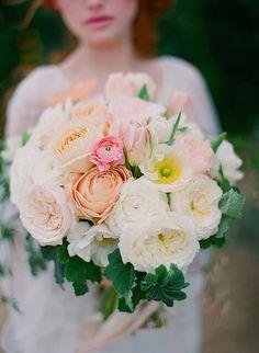 garden wedding inspiration. white, pink, and blush wedding bouquet. garden roses, poppies, tulips and rununculus. flowers by plentyofpetals.com #plentyofpetals