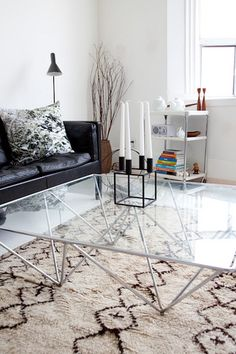 Kubus candleholder [glass table, borge mogensen black leather sofa, beni ourain rug]