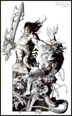 """Pierce that Tongue"" Original Ink drawing  Copyright Andy Brase"