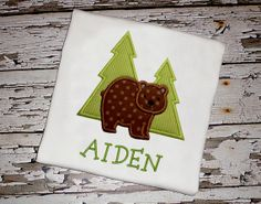 Forest Bear Shirt with Personalization by KnuckleheadNeedlewrk, $25.00