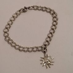 Vintage Sterling Silver 925 Sun Double Link Charm by JewelryGeeks, $25.99