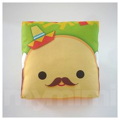 "Decorative Pillow, Taco Pillow, Sombrero Pillow, Mexican Food, Throw Pillow, Kawaii, Cushion, Room Decor, Childrens Toys, 7 x 7"" on Etsy, $14.00"