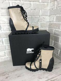 1ed99d6b775a Details about Women s Sorel Lea Wedge Boot NIB Waterproof Black Grey Tan  Ankle Joan Chelsea
