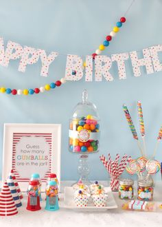 Indulge a little and throw a super sweet and fun gumball birthday! Shop the collection of gumball favors, decorations and supplies.