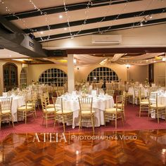 Check out this stunning photo of the Burgundy room at Chateau Wyuna Receptions taken by ATEIA! Temple Wedding, Hotel Wedding, Burgundy Room, Gold Chargers, Chiavari Chairs, Lds Temples, Reception Rooms, White Vinyl, Table Settings
