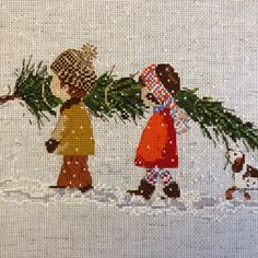 Children and Christmas tree - cross stitch pattern in pdf. Cute pattern will bring The Spirit of Christmas to your house. Quilt Stitching, Cross Stitching, Cross Stitch Embroidery, Hardanger Embroidery, Christmas Cross, Christmas Tree, Christmas Ideas, Christmas Ornaments, Cross Stitch Designs
