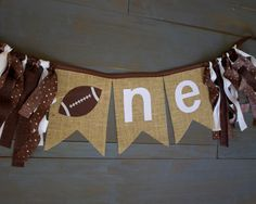 ONE Football Brown & White Highchair Burlap Bunting Banner for Boy Rustic First Birthday Party Decoration, or Photo Prop Football First Birthday, Boy First Birthday, First Birthday Party Decorations, Boy Birthday Parties, Birthday Ideas, Football Themes, Football Banner, Custom Football, Lincoln Birthday