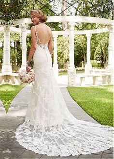 comprar Vestidos de boda fabulosa tul con cuello en V escote de la sirena con los Appliques del cordón de descuento en Dressilyme.com