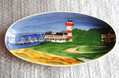 Roseanne Henning PotteryOval Bowl w/Lighthouse Scene Hand painted Multi-color