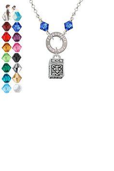 Prayer Box - Custom Engraved Eternity Circle Crystal Necklace - Wedding nacklaces (*Amazon Partner-Link)