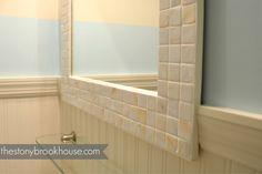 The Stonybrook House: How To Make A Custom Tiled Mirror Diy Mirror Frame Bathroom, Mirror Tiles, Downstairs Bathroom, Tile Trim, Painting Trim, Coastal Decor, Home Improvement, Bathrooms, Bath Ideas