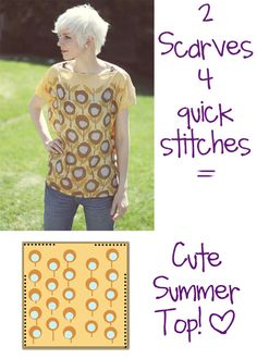 How to recycle a scarf top. How To Make An Easy And Cheap Shirt From Silk Scarves - Step 6 Sewing Hacks, Sewing Tutorials, Sewing Crafts, Sewing Projects, Sewing Patterns, Shirt Patterns, Clothes Patterns, Dress Patterns, Sewing Ideas
