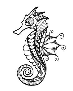 My original artwork, inspired by many. ♥️ Doodle, zentangle, line drawing, tattoo, seahorse, ocean, black and white