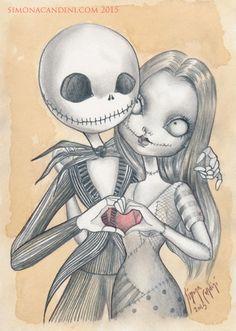 Jack et Sally LIMITED EDITION 10 imprimé signé numéroté grands yeux de Simona Candini Nightmeare avant Noël Tim Burton Halloween Valentine