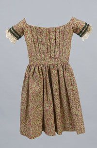 Philadelphia Museum of Art Girl's Dress Printed wool challis, green silk briad, lace  Center Back Length: 19 1/2 inches (49.5 cm) Waist: 14 inches (35.6 cm)