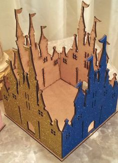 Pics do NO justice! Simply GORGEOUS! Easily assembled! Buy two or more to interchange panels!   SEE MY SHOP FOR ALL WOODEN ITEMS THAT MATCH THESE LIKE CARRIAGES AND OTHER CASTLES https://www.etsy.com/shop/KhloesKustomKreation?section_id=18383258&ref=shopsection_leftnav_10  This listing is for one wooden castle layered with glitter panel. Very well crafted! It includes total of five panels, the bottom base and the four walls. The glitter makes them look fabulous and magical! This will make a…