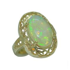 Opal Ring https://www.goldinart.com/shop/colored-gemstone-rings/opal-ring #14KaratYellowGold, #OpalRing