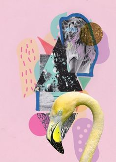 'Flamingoland' collage  by Vasare Nar