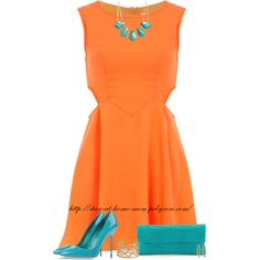 """""""Orange Dress, Turquoise Accessories."""" by stay-at-home-mom on Polyvore"""