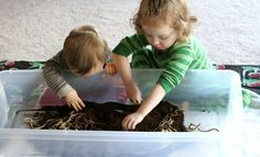 Fun at Home with Kids: dirt  and worms (coffee grounds and spaghetti noodles!) awesome!