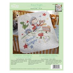 @Overstock.com - Design: Brave Knight  Collection: Bucilla Baby Materials: Aida cotton Kit contains one (1) white poly/cotton quilt top pre-stamped in wash-away ink, cotton floss, needle and instructions  http://www.overstock.com/Crafts-Sewing/Bucilla-Brave-Knight-Crib-Cover-Stamped-Cross-Stitch-Kit/6191690/product.html?CID=214117 $27.99