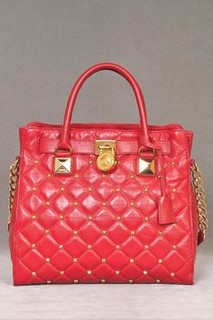 Michael Kors Hamilton Stud Quilt Tote in Red. Please?!