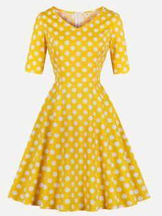 6b7ff9651cc Vinfemass Retro V-neck Polka Dots Printed Plus Size Skater Dress