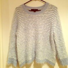 Forever 21 Blue Sweater Light blue fuzzy sweater from Forever 21, brand new but tags ripped off. Never worn. Super warm and fuzzy. Approx 23 inches long Forever 21 Sweaters