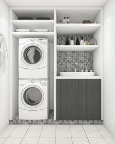 Laundry Closets So Nice You Will Want To Hide In Them If you don't have a lot of space for a nice, big laundry room in your house, that's okay. Here are some amazing laundry closet ideas that are so nice that you'll want to hide in them! White Laundry Rooms, Modern Laundry Rooms, Laundry Room Layouts, Laundry Room Remodel, Laundry Cupboard, Laundry Closet, Laundry Room Organization, Basement Laundry, Laundry Room Inspiration