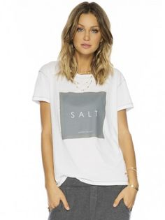 Peace Love World Clothing | Salt Soothes the Soul White Classic Elvis Crew Neck Tee - Women - New Arrivals