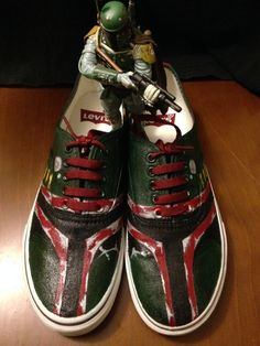 I could probably make Kenny a pair of these.... Star Wars BOBA FETT shoes by ImagineInfinite on Etsy, $100.00