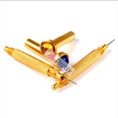 2X Gold Hand Dangle Piercing Drill Nail Art UV Gel Acrylic Tips Pierce DIY Tool #Unbranded
