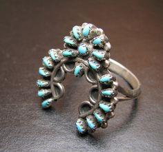 Vintage Zuni Squash Blossom Silver & Turquoise Native American Ring