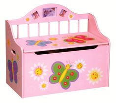 storage benches for kids   Guidecraft Butterfly Toy Box Storage Bench Seat - Childrens Furniture ...