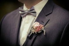 This foodie groom opted for a pink peppercorn boutonniere!