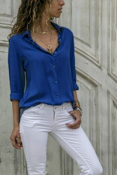 Fashion Tops Women's Clothes Casual Long Sleeve T-shirts Solid Color Deep V-neck Shirts Ladies Loose Plus Size Office Wear Chiffon Blouse Plus Size Shirts, Plus Size Blouses, Chiffon Shirt, Chiffon Tops, Chiffon Fabric, Bluse Outfit, Pantalon Cargo, Urban Fashion Women, Ladies Fashion