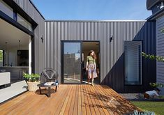 Brunswick Extension by ArchiBlox (via Lunchbox Architect) - August 03 2019 at House Cladding, Exterior Cladding, Facade House, Metal Cladding, Shed Homes, Prefab Homes, Modular Homes, Interior Flat, Timber Deck