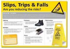 Buy your Slips, Trips & Fall/Are You Reducing The Risks online with Seton. Clear photographs and informative text promoting health & safety at work. Workplace Safety, Health And Safety, Infographics, Trips, Ads, Atelier, Viajes, Infographic, Traveling