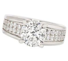 Epiphany Diamonique 100-Facet Bridal Ring w/Pave Detail — QVC.com