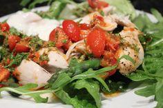 Lemon-thyme roast chicken salad with red pepper pesto and tomato dressing and garlic yoghurt Roast Chicken, Chicken Salad, Red Peppers, Caprese Salad, Main Meals, Pesto, Delish, Garlic, Salt