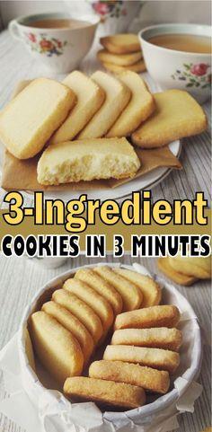 3 INGREDIENT COOKIE RECIPE Easy Baking Recipes, Coconut Recipes, Easy Cookie Recipes, Sweet Recipes, Snack Recipes, Basic Cookie Recipe, Vegan Recipes, Snacks, Three Ingredient Cookies
