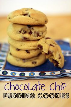 Chocolate Chip PUDDING Cookies  The pudding in the batter makes for a moist, soft chocolate chip cookie – even after a few days!  What's fun about this recipe is that you can experiment with different flavors of pudding (check out our Oreo Pudding Cookies) and different mix-ins (besides the chocolate chips).  Butterscotch pudding cookies tast