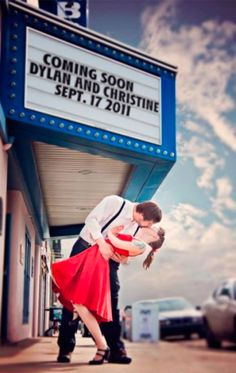 Marquee Save the Date Photo. This would be perfect for a Retro Wedding Theme! :: Rockabilly Wedding:: Retro Save the Date:: Picture Show Save the Date
