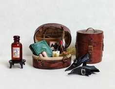 D/house Miniature Travel Luggage 1/12th H/made Witch / Wizard