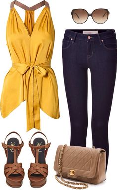 Yellow + camel + Jeans