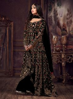 Luminous Black Color Heavy Net Embroidered Stone Work Sharara Suit - Everything about the world of makeup! Designer Anarkali Dresses, Pakistani Dresses, Indian Dresses, Indian Outfits, Western Lehenga, Indian Bridal Lehenga, Pakistani Bridal, Sharara Suit, Anarkali Suits