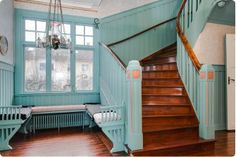 Paint all that brown blue. Swedish Cottage, Swedish House, Swedish Interiors, Cabin Interiors, Country Interior, Interior And Exterior, Entryway Stairs, Magic House, Building A New Home