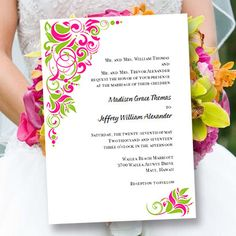 "Printable Wedding Invitation Template ""Gianna"" Fuchsia Pink & Lime 
