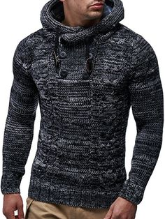 2431b83e0c1085 LEIF NELSON Herren Pullover Hoodie Kapuzenpullover Strickpullover  Longsleeve Sweater Sweatshirt Pulli LN20227 (Large